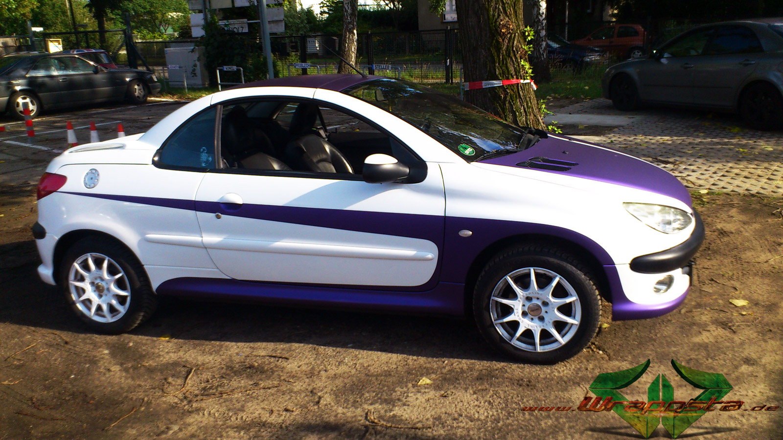 peugeot 206cc glanz weiss purple matte metallic wrappsta berlin. Black Bedroom Furniture Sets. Home Design Ideas